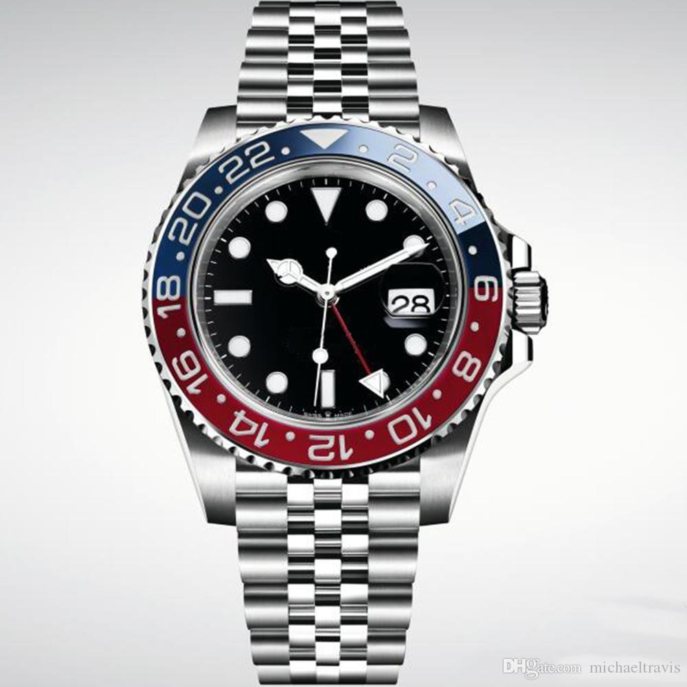 الرجال الفاخرة ووتش التلقائية الساعات الميكانيكية 1167110 GMT الفولاذ المقاوم للصدأ أزرق أحمر السيراميك 40MM الياقوت زجاج ساعات رجالية بدون مربع
