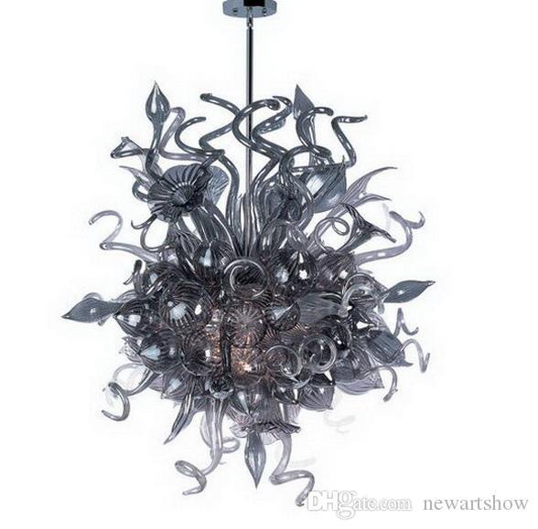 100% Ручной Выдувное Стекло Люстра Потолочный для Свадебный Декор Стиль Chihuly Современный Кристалл Подвесные Стеклянные СВЕТОДИОДНЫЕ Подвесные Светильники