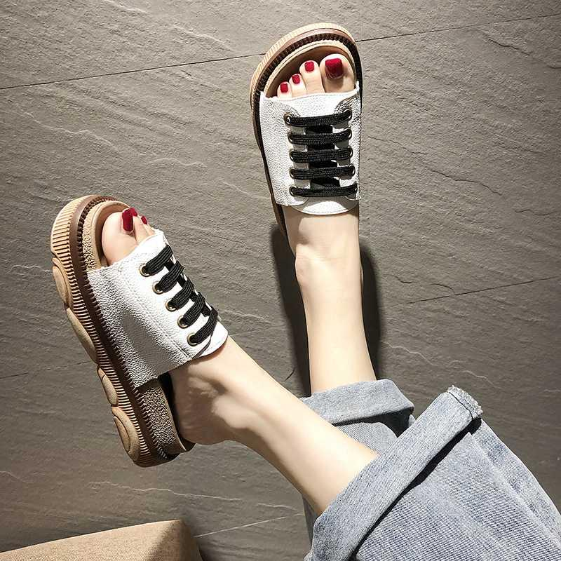 Mujer del verano Plataforma zapatillas zapatos planos Mujer Med Damas Señora Slides Slipers Mujeres suave Beach Girl
