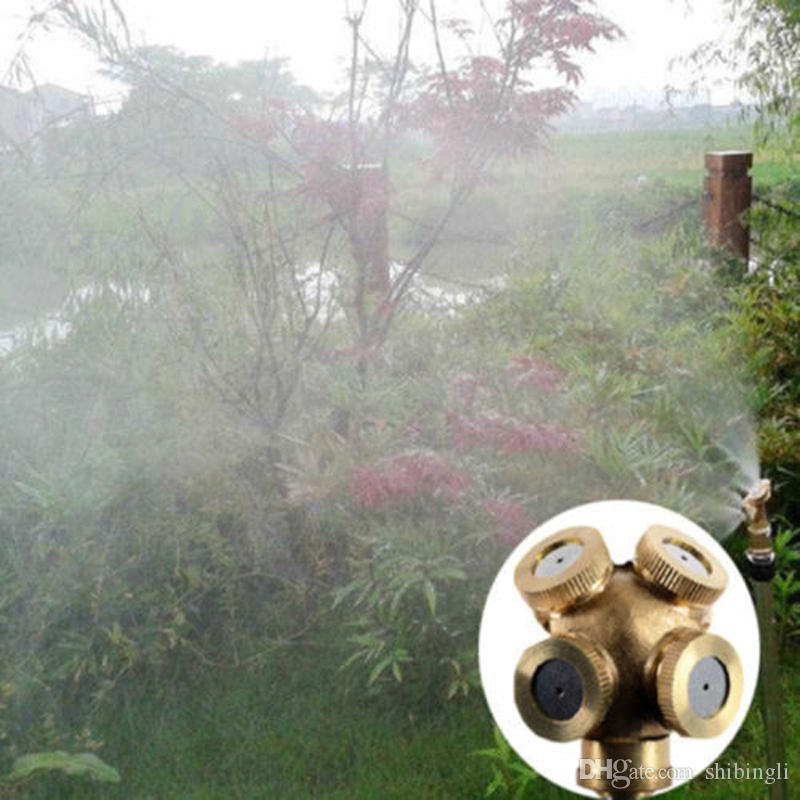 4 Hole Brass Spray Misting Nozzle Garden Sprinklers Irrigation Fitting Hose Water Connector for Watering & Irrigation