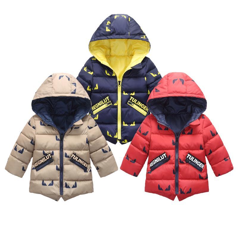 Nueva capa de los niños Niños Chaquetas Escudo de impresión con capucha ropa de invierno caliente chaqueta de los niños para los muchachos de la muchacha de la cremallera capas de abrigo