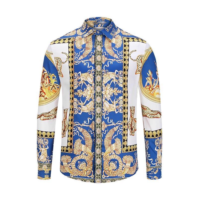 السنة الجديدة الخريف مصمم فاخر ميدوسا للرجال مطبوعة اللباس سليم القطن القميص الرجال السود طباعة الأعمال عارضة الأعلى