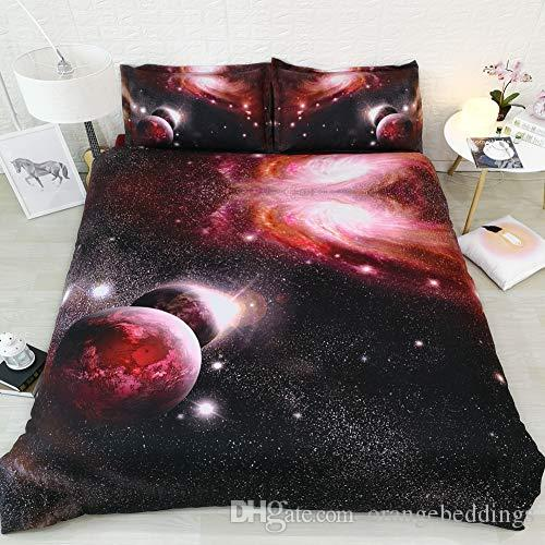 3d Galaxy cama Set Red Preto Colchas Rainha King Size Duvet Cover Estrelas 3pc Pillowshams NO Consolador
