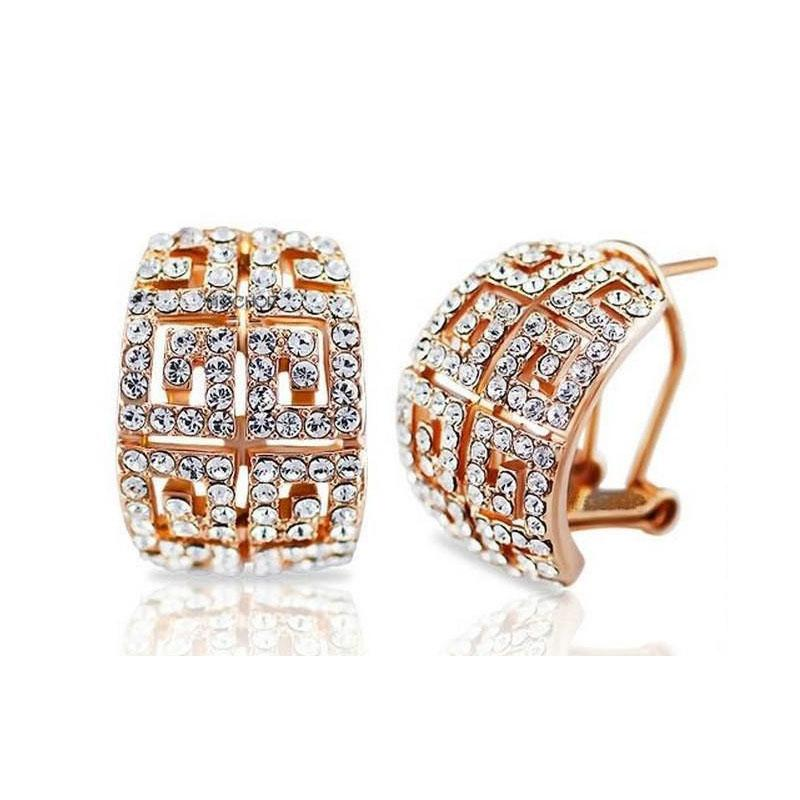 18K Gold Silver Plated CZ Crystal Holow Out Clip On Earrings Made with SWA Elements Earrings for Women Brand Wedding Earrings Jewelry