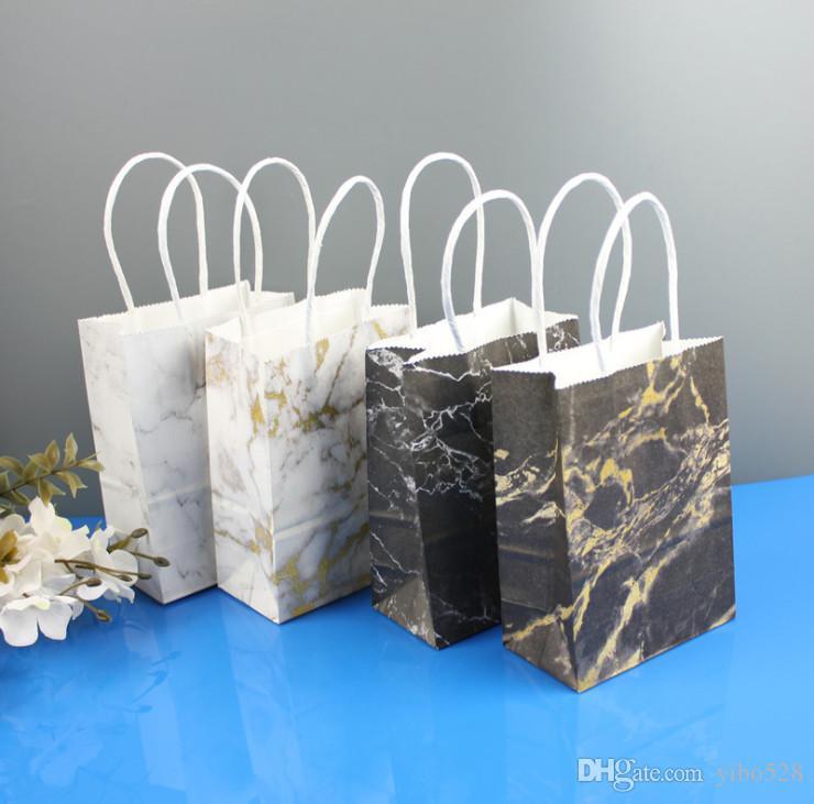 2020 черный / белый мрамор сумка подарок Крафт бумажный мешок подарки на День рождения свадьба с рукой свадьба подарок упаковка