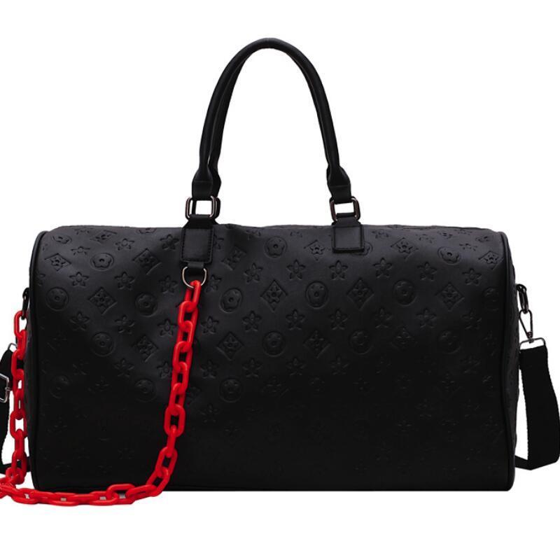 Asas del viaje de los viajes Hombres Mujeres bolsa de equipaje de cuero Bolsas Las bolsas de hombro Negro equipaje de gran capacidad de bolsos al aire libre