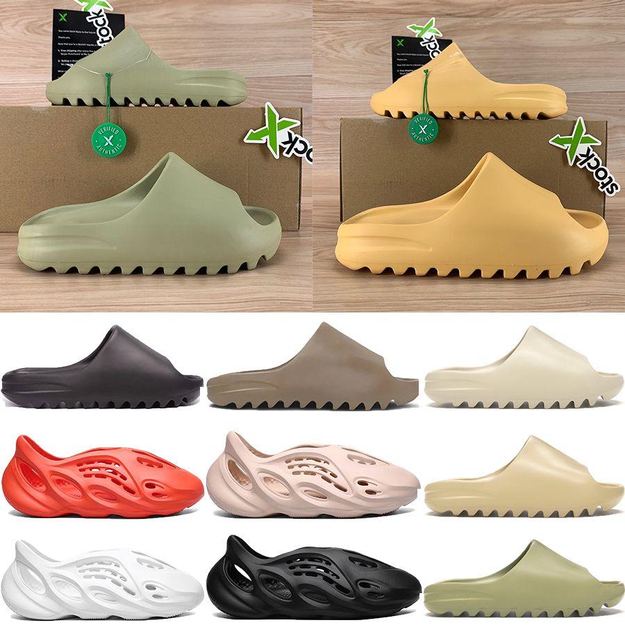 corredor nueva espuma sandalia triples negro blanco del desierto de resina de hueso de los hombres de arena Kanye West diapositivas de las mujeres de la moda de las sandalias de los zapatos de Estados Unidos 5-11