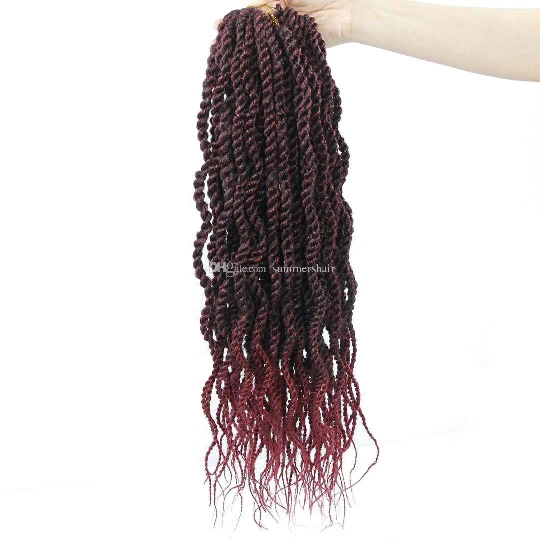 Sénégal Twist Crochet Tresses cheveux Weave 16strands 18 pouces / Paquet Ombre Tressage cheveux vague Mambo Twist Crochet Tressage