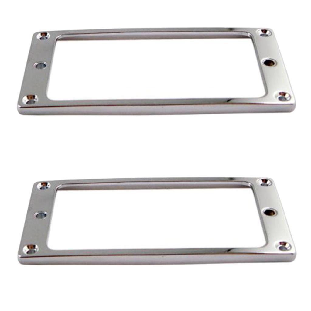 2 Stück Silber Metall elektrische Gitarren-Aufnahme Humbucker Flat Base Montagering Innenrahmen 4x4mm Musikinstrumente Zubehör