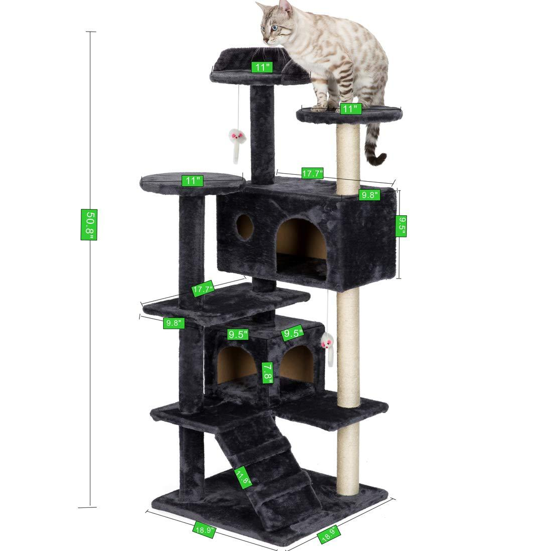 2021 Jarl Home 51 Multi Level Cat Tree Tower Activity Cat Trees 2 Condo Houses Scratch Post For Kittens Plush Cat Play Scratching Trees From Jarlhome 56 29 Dhgate Com