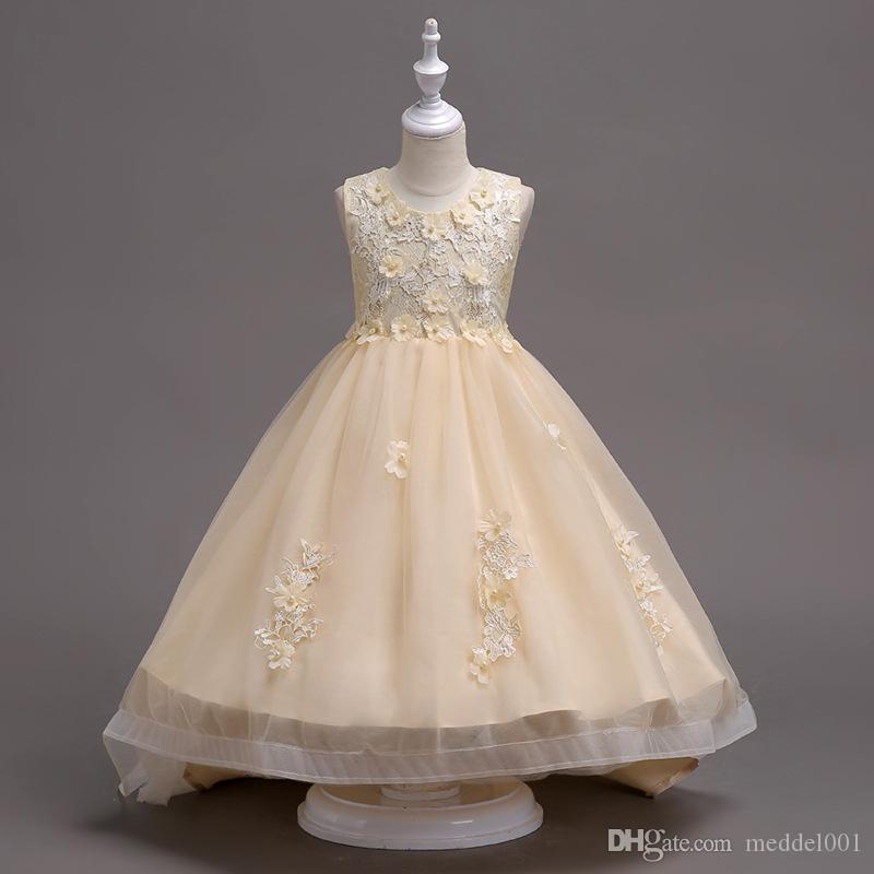 2019 New Arrival Knee-Length Flowered Applique Flower Children's Elegant Dresses for Girls Dresses for the Communion Ceremony
