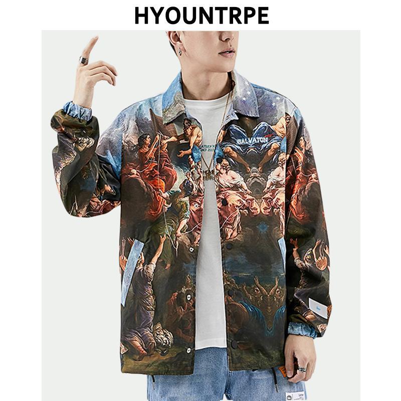 Vintage impreso suelta chaquetas hombres solo botón Turn Down Collar Hip Hop ropa manga larga para hombre 2019 nueva moda Streetwear