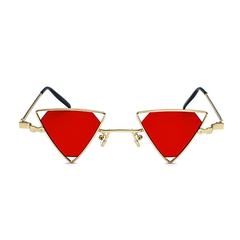 Occhiali da sole vintage punk Triangolo Donna Uomo Montatura in metallo Nero Rosso Giallo Rosa Occhiali da sole Retro Shades ss056