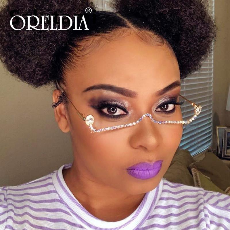 Moda Yarım Çerçeve Gözlük Kadınlar Kadın Vintage Yok Lens Gözlük Çerçevesi Yapay elmas zincir kolye Alaşım Unisex