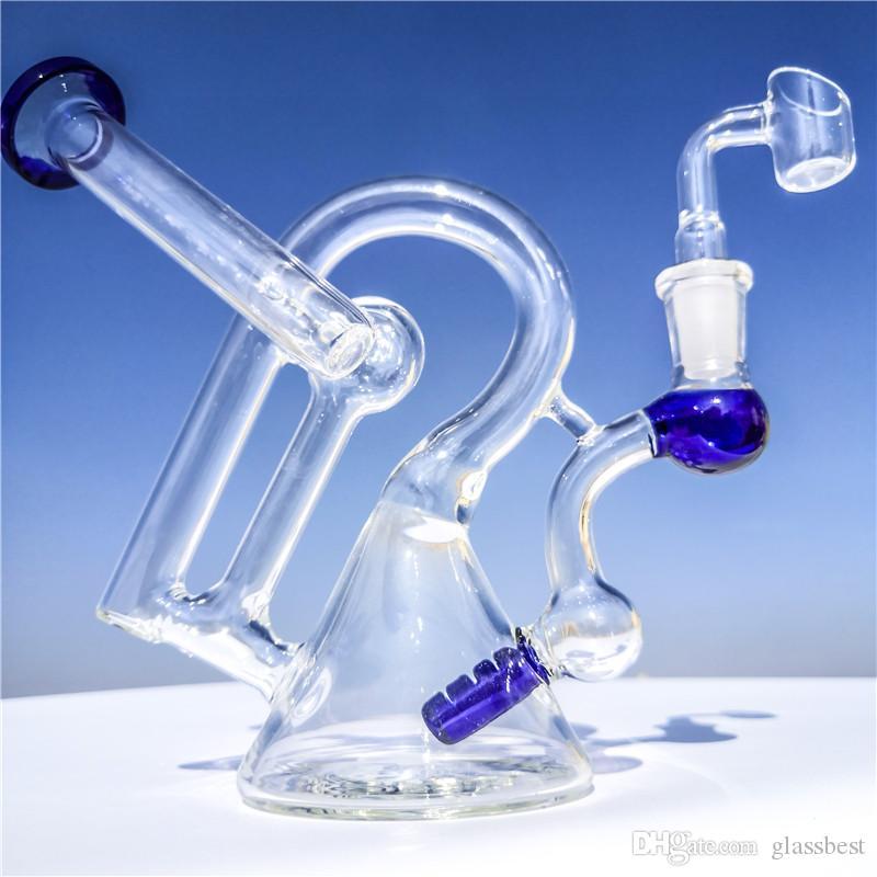 Синий Новый Beaker Бонг Ресайклер стекла Бонг Ресайклер Dab Рог 7 дюймов Курительные Кальян 14мм Совместную Banger затяжками стекла воды затяжками