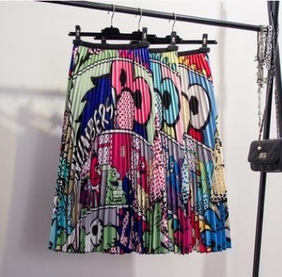 Dashiki robes africaine pour les femmes de Patron animaux Cartoon drôle Femmes Long Jupes plissées 2019 été imprimé bohème haute Wai