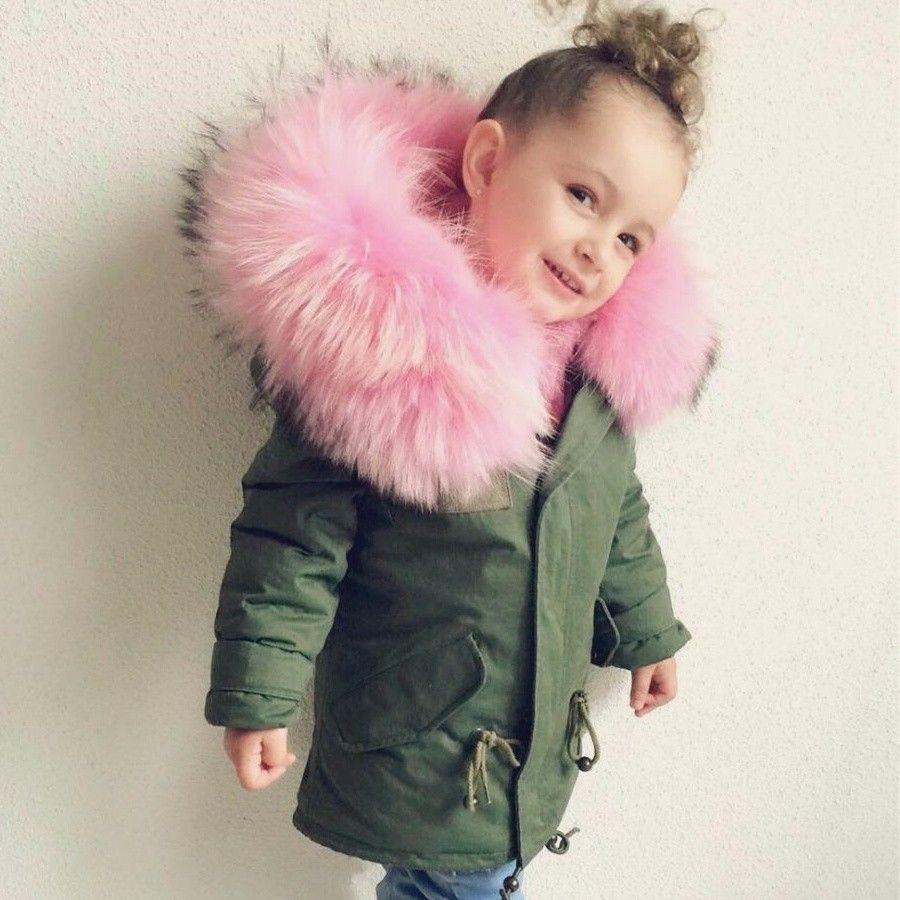 Cappotti per ragazze Ragazzi Abbigliamento per bambini Parka sintetico Pelliccia sintetica Cappuccio per bambini Abbigliamento per bambini 2019 moda autunno Inverno Giacche abbigliamento da neve