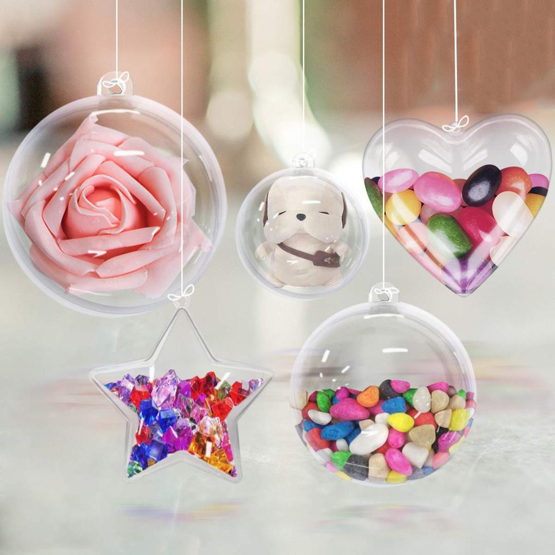 10pcs / Christmas Pack di plastica libera compilabili Ornamenti fai da te acrilico ornamenti sfere appesa Crafting Kit decorazioni della festa nuziale