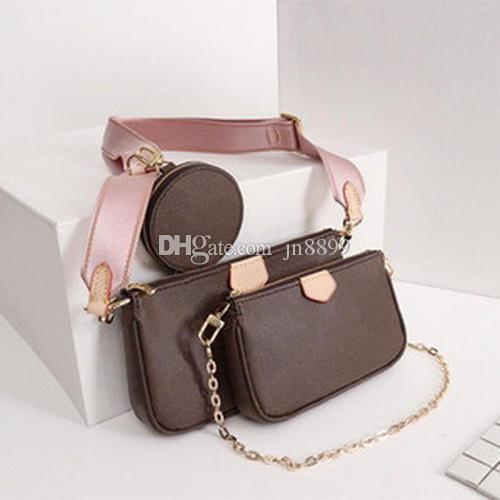 뜨거운 판매 여성의 럭셔리 핸드백 지갑 즐겨 찾기 포 셰트 3PCS 액세서리 크로스 바디 백 빈티지 가죽 어깨 가방 3 색 스트랩