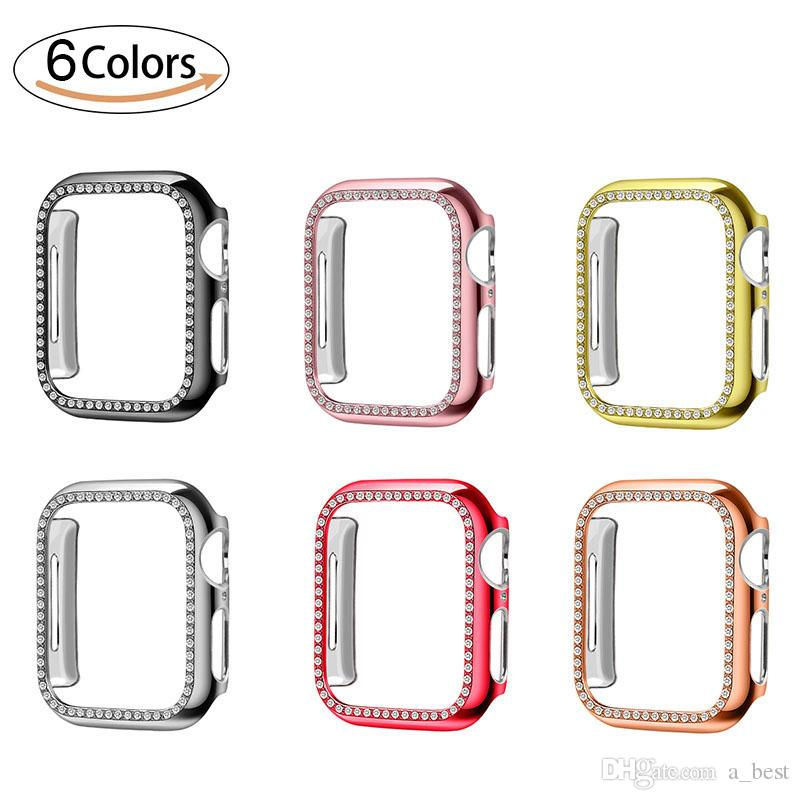 Diamond Watch PC Cover for Apple Watch Luxury Bling Crystal Hard Case for iWatch Series 5 4 3 2 1 42mm 38mm Band