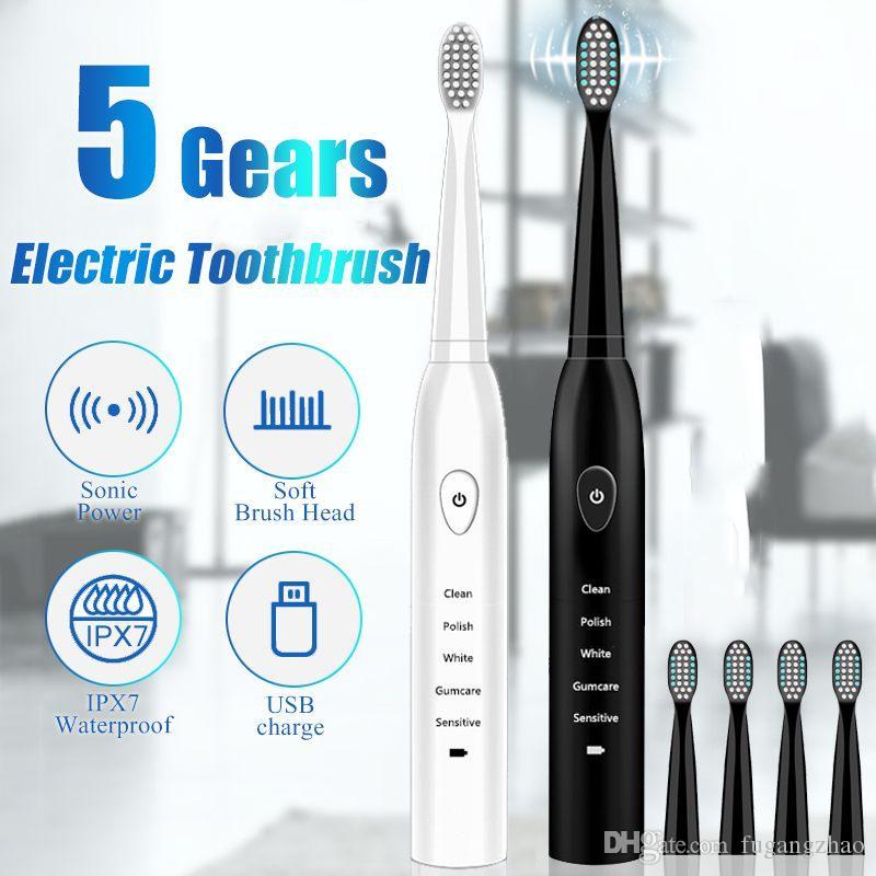 Cepillo de dientes eléctrico con 3 sustitución de la cabeza de la onda acústica recargable de calidad superior del chip inteligente Cepillo de dientes cabeza reemplazable Blanqueamiento Cepillo de dientes