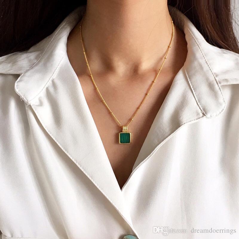Fashion Vintage Necklace for Women Girls Malachite Stone Pendant Beaded Chain Necklace Luxury Designer Wholesale Necklaces