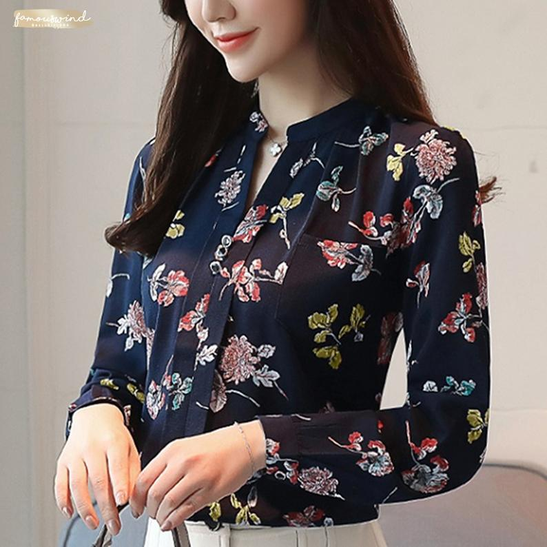 Şifon Çalışma Bluzlar V-Yaka Kadın Şifon Bluz Bayan Tops Ve Sonbahar Moda Ofisi İnce Z0001 Gömlekler