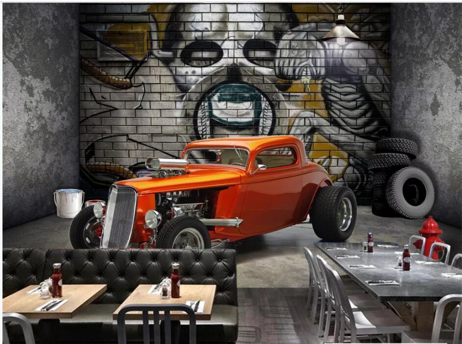 3d papel de parede personalizado foto Extensão Espaço Vintage Car Restaurant fundo sala de decoração para casa murais de parede papel de parede 3D para paredes 3 d