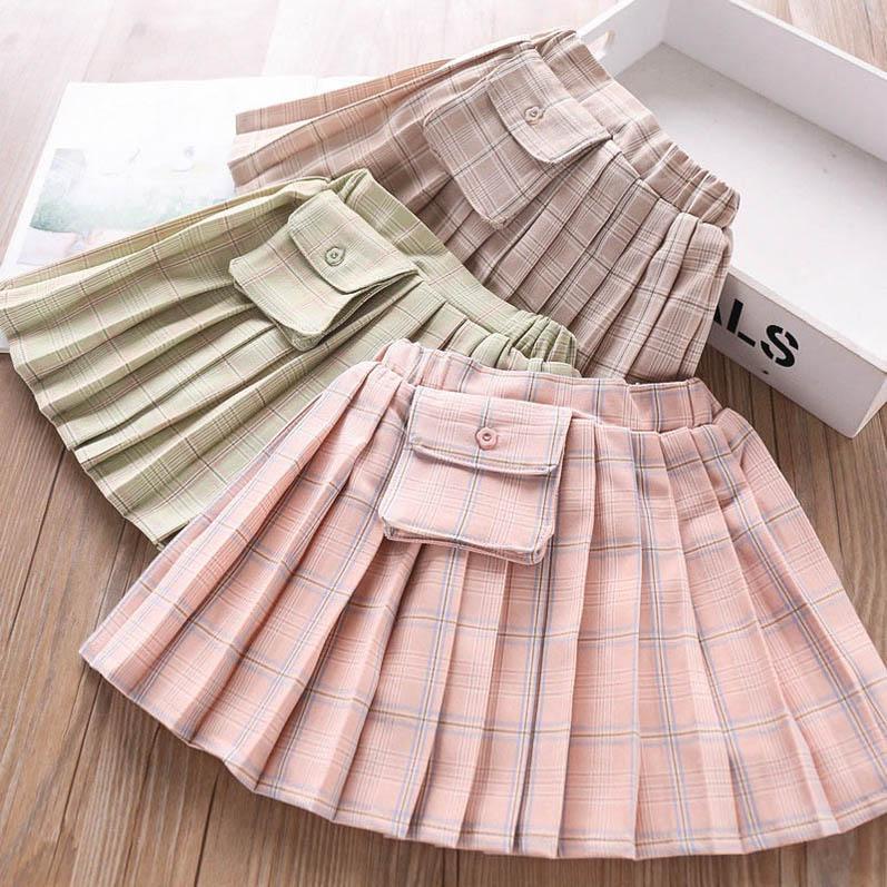 3color nova moda 2020 meninas saias plissadas crianças saias curtas saco saia crianças designer de roupas meninas princesa saia plissada saia B286