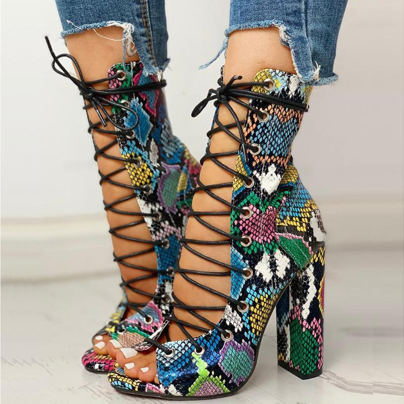 Sexy Multicolor Snake Skin Print High