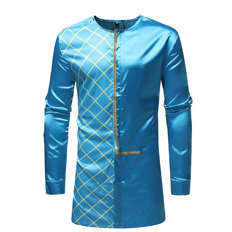 Men's Hipster African Clothes LongIine Plaid Shirt 2018 Fashion Traditional Tribal Dashiki Dress Shirts Men African Clothing