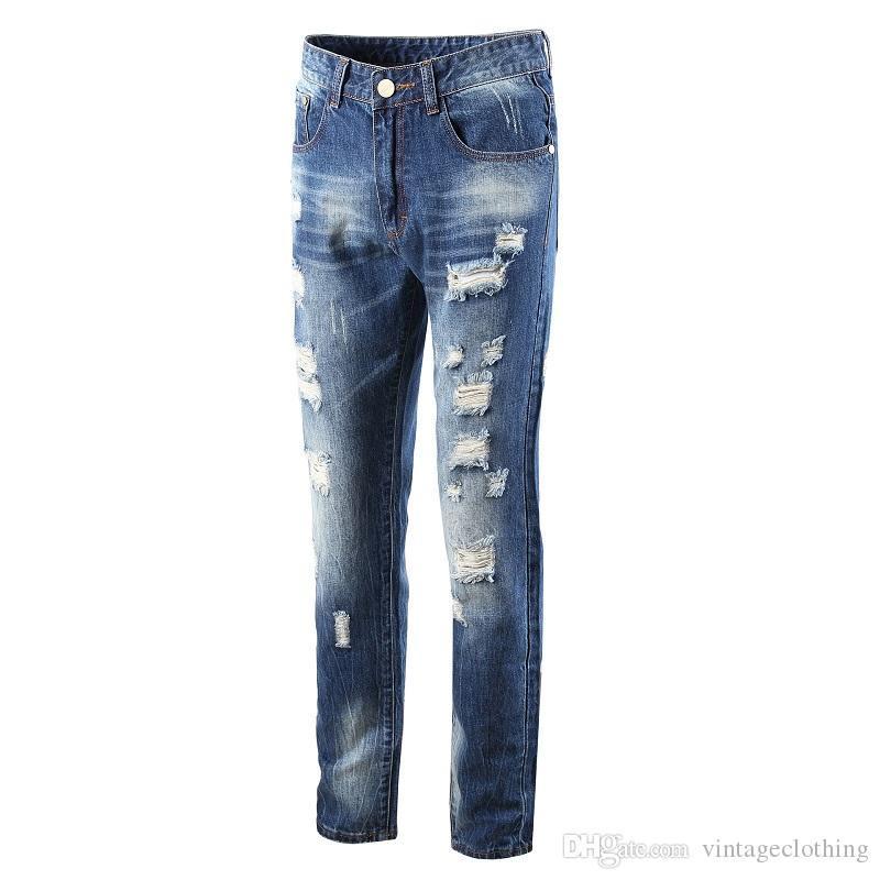 Los hombres de la moda Jeans rectos Slim Fit Jeans de diseñador simples Pantalones de mezclilla medianos lavados Jeans destruidos