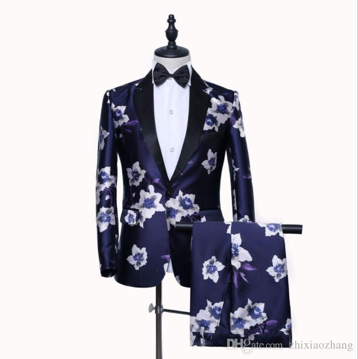 Blazer мужчины печати костюм набор брюки мужские свадебные костюмы костюм певица звезда стиля одежды этап Платье де Noiva официально платье