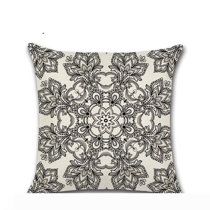 Paisley Bohemia estilo Fundas de cojines impresión geométrica étnica Lino Mantas Almohadas caso sofá asiento coche decorativo 4 8 Kh y