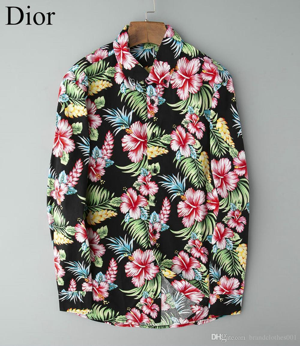 Роскошные мужские дизайнерские футболки с длинным рукавом Firmate бизнеса рубашек платья вскользь Марка рубашки Печать Тонкий Button Shirt Homme Up Tops 105