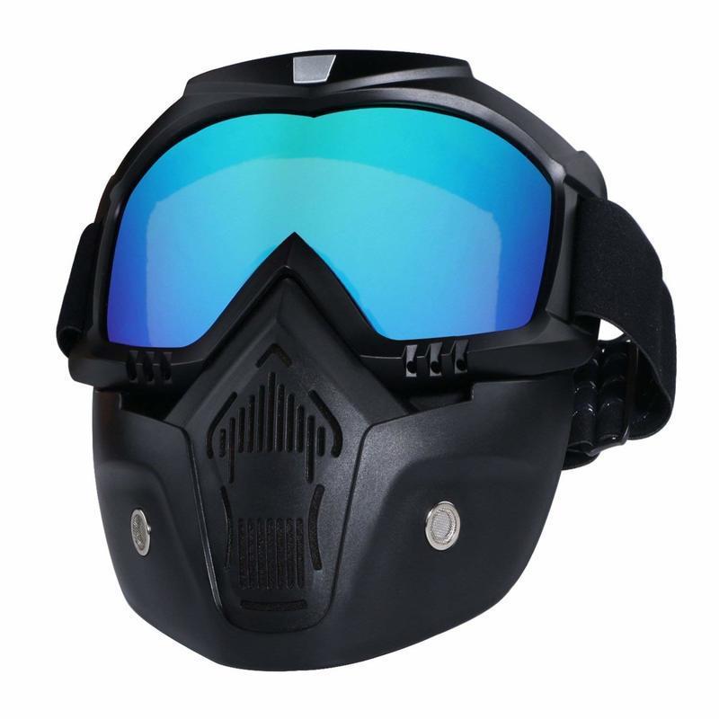 Çıkarılabilir Yüz Maskesi ile motosiklet Kask Sürme Gözlük Gözlük Ayrılabilir Sis geçirmez Sıcak Gözlük Ağız Filtresi Ayarlanabilir