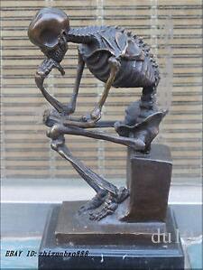 Art Bronze sculpture home decora Western Bronze Marble Art Statue Skull human SKELETON THINKER Copper sculpture home decoration