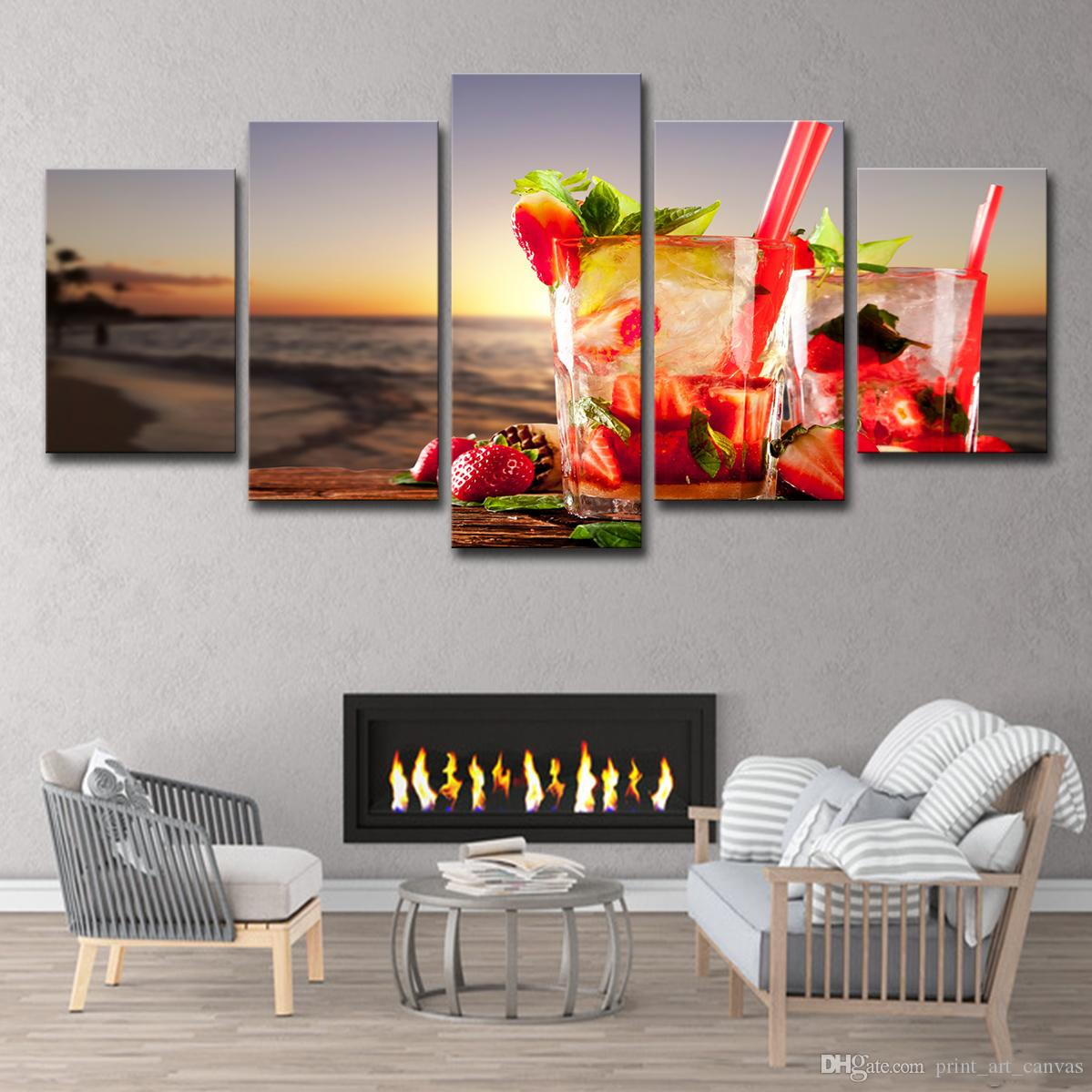 5 Pieces HD Printed Beach Sea Drinks Cocktails Painting Canvas Print Room Decor Print Poster Picture Canvas Free Shipping