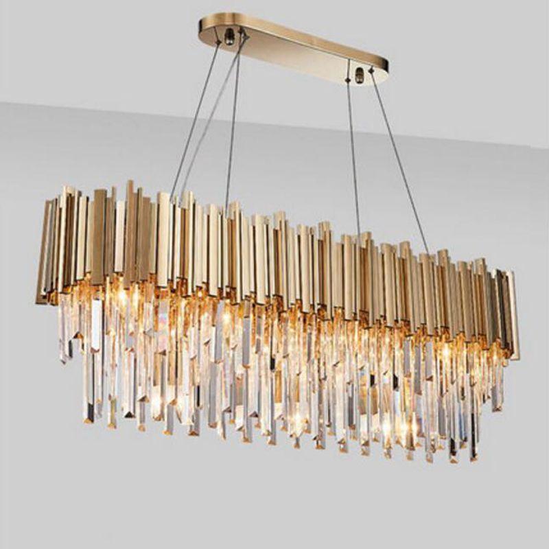 كريستال الحديثة مصباح الثريا للعيش البيضاوي فاخر الذهب جولة مصباح الفولاذ المقاوم للصدأ الخط قلادة الأنوار