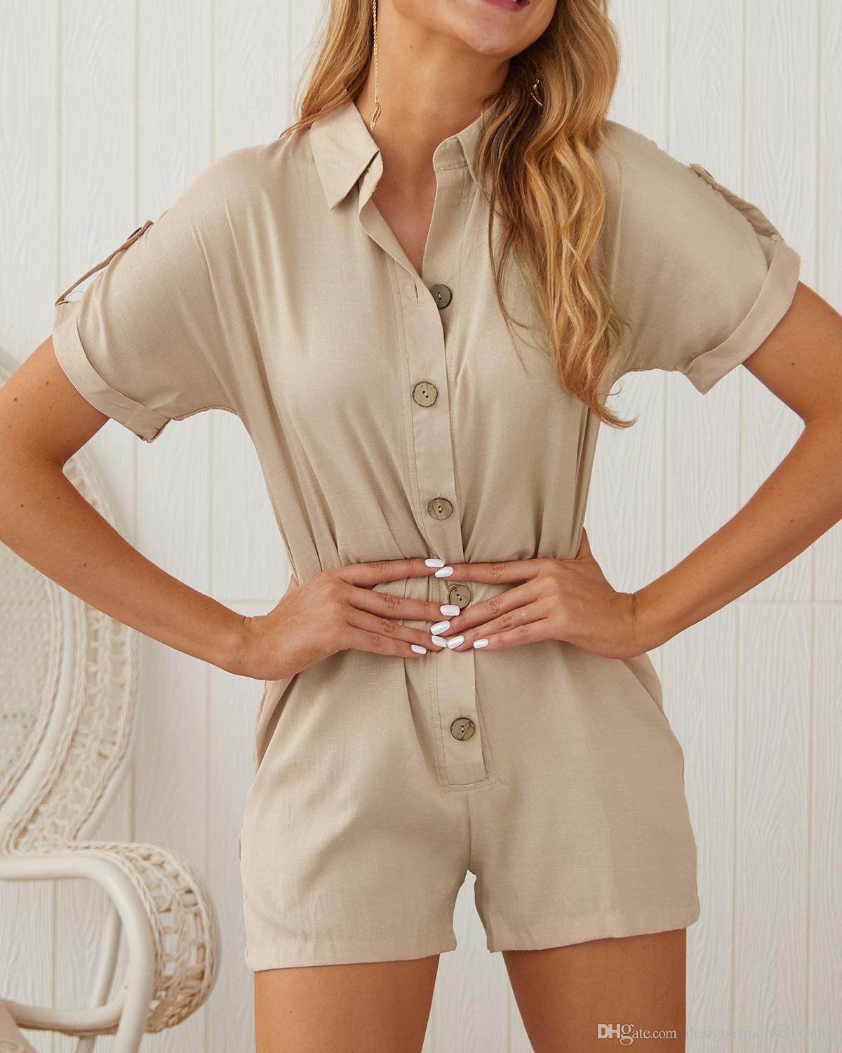 Fashion Button Ladies Jumpsuit New Designer Solid Stand Collar Casual Rompers Female Holidays Beach Shorts