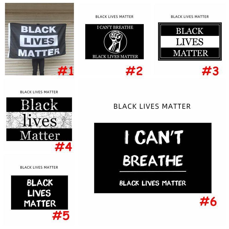 90x150cm ЧЕРНЫЙ ЖИВЕТ ВЕЩЕСТВО Баннер Флаги Черного ПРОТЕСТА Banner Я не могу дышать флаг Американского парада Баннер Флаги CCA12177 80pcs