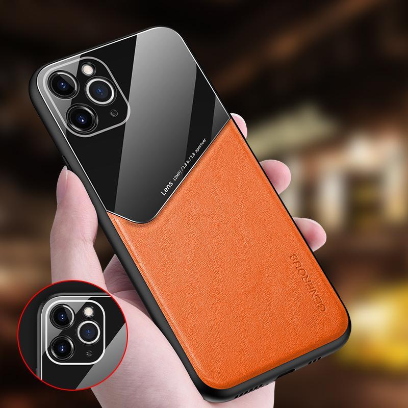 Magnétique Protection de la lentille en verre en cuir de luxe de cas pour l'iPhone 11 Pro Max XS Max XR XS X 8 Plus 7 6 6S plus