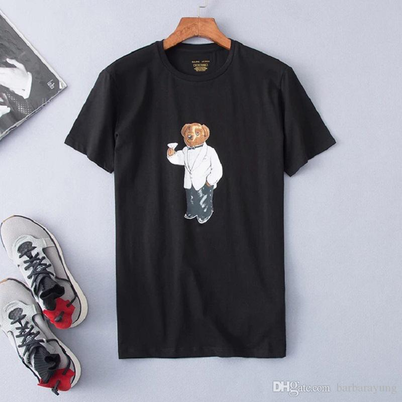 En gros de haute qualité 100% coton ours t-shirt manches courtes tee shirts occasionnels avec l'impression du motif d'ours USA