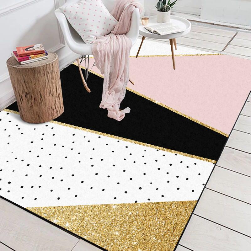 Modern Geometrik Pembe Beyaz Altın Siyah Puanl Kapı Mat Banyo Salonu Oturma Odası Yatak Odası Ev Dekoratif Halı Alan Kilim
