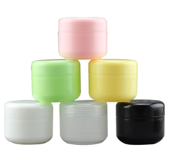 Farbige 60pcs 50ML 50G PP leeren Plastik kosmetisches Glas mit Schraubverschluss Innendeckel, Probe Make-up Glas Unter Abfüllung Maske Container