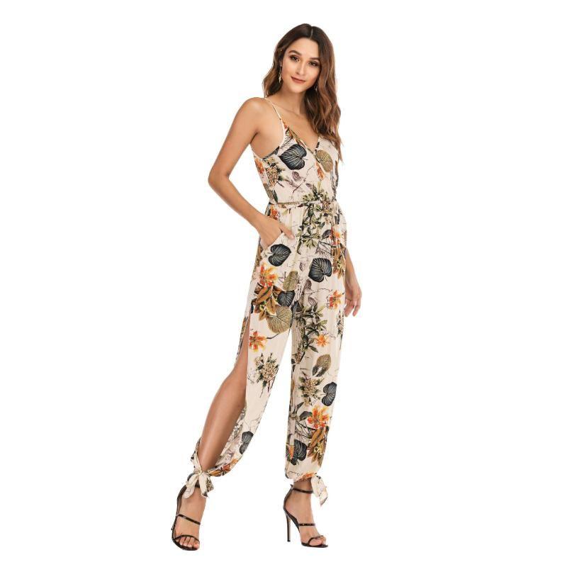 2020 Yeni Kadın Tulum Çiçek Baggy Pantolon Katı Romper Tulum Kapalı Omuz V Boyun Bodycon Skinny Tulum Romper Clubwear