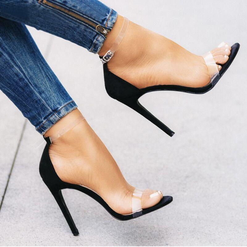 Damen Sandalen PVC Jelly Schuhfrauensandelholze Extreme High Heels Transparent Schuhe Klar Klassische Pumps Damenschuhe Sandale Femme CX200612