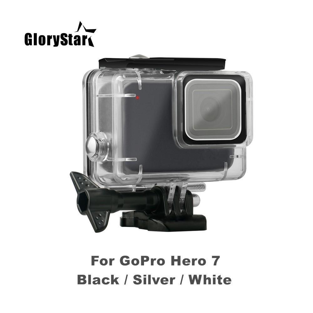 Custodia impermeabile subacquea GloryStar 45M per GoPro Hero 7 Nero Argento Protezione fotocamera bianca Custodia subacquea Accessori per immersioni