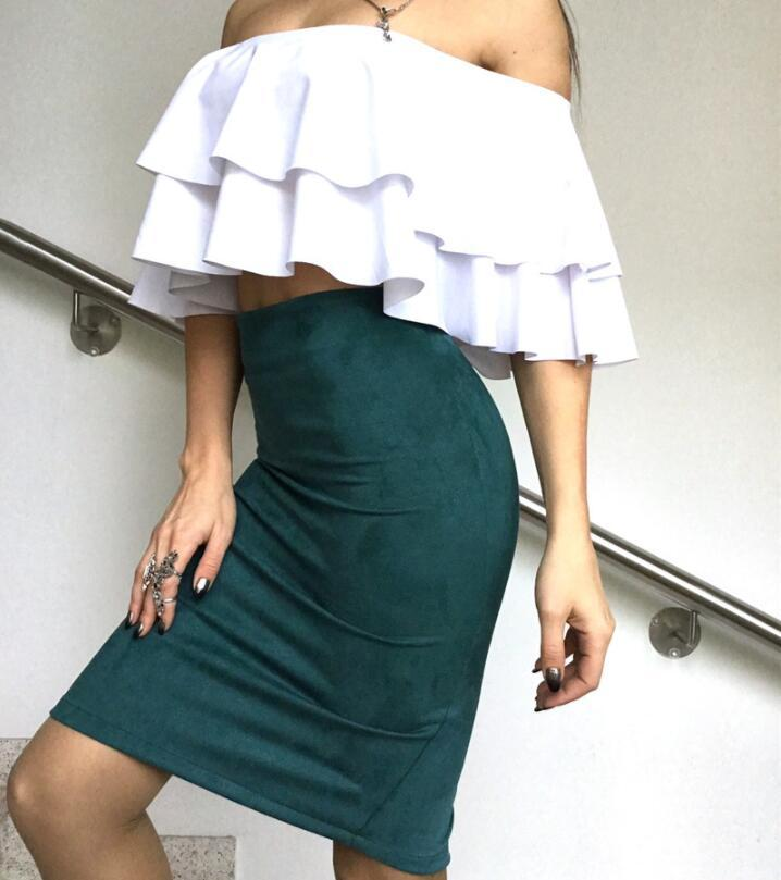 Womens Sexy Skirt Summer Casual S-5XL Knee-Length Pencil Skirts Suede bag hip slim Female Vintage Suede Split Skirts Jupe Femme Faldas Mujer