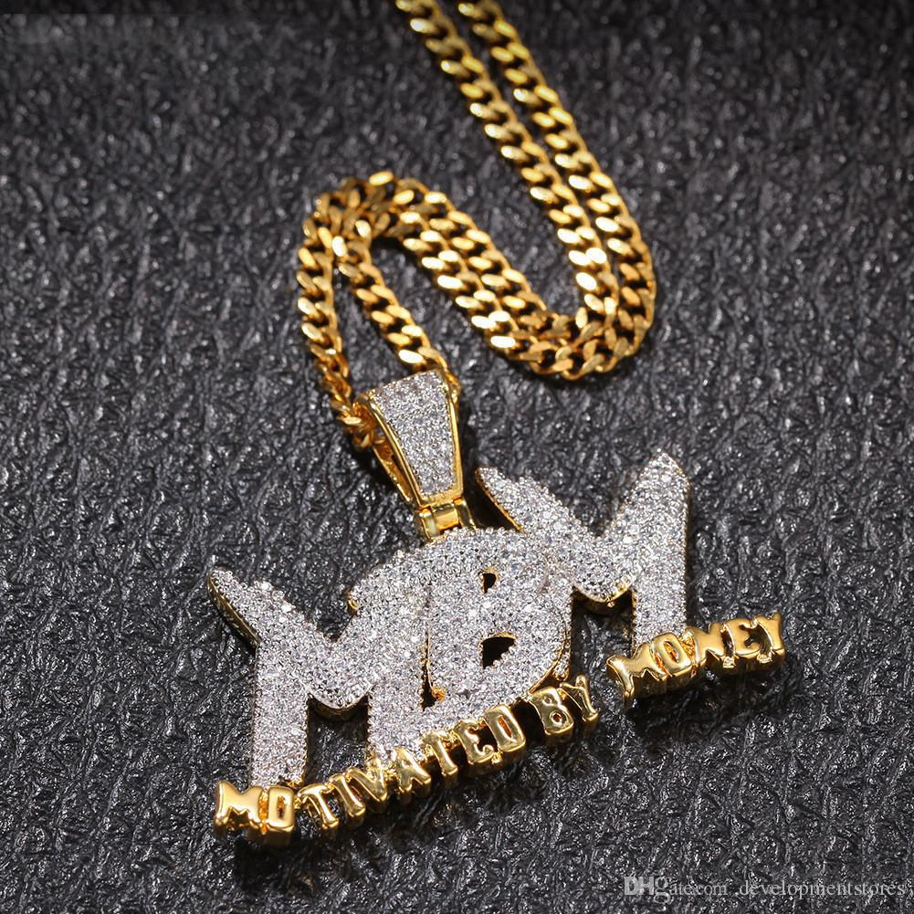 18 К Позолоченный Капельное Письмо MBM Мотивированные Деньгами Двухцветный Ожерелье Мужская Хип-Хоп Ювелирный Подарок